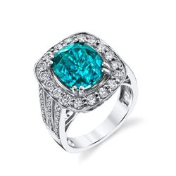 10.51 Carat Blue Zircon & Diamond Ring
