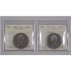 2x Canada $1.00 Coin 1973 PL66 and 1970 PL66 (RIE) ICCS (ATTN: 2 Times the bid price)