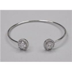 Ladies Custom Bangle Bracelet with Clear Swarovski Elements = 3.50cts and 40 Clear Around.