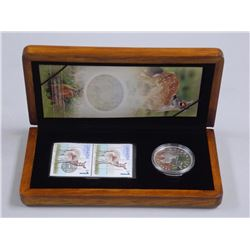 Deer and Fawn - LE Stamp and 99.99 Fine Silver $5.00 Coin Wood Case