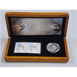 Falcon and Nestlings - LE Stamp and 99.99 Fine Silver $5.00 Coin Wood Case