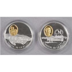 2x 925 Sterling Silver $20.00 with 24kt Gold Cameo Aviation Coins (ATTN: 2 Times the bid price)