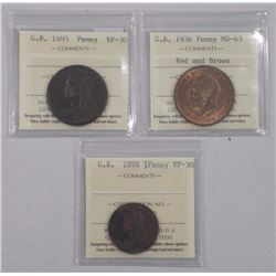3x Great Britain Coins - 1895 and 1936 Penny and 1898 1/2 Penny (MIR) (ATTN: 3 Times the bid price)