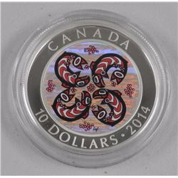 2014 - $10.00 .9999 Fine Silver Coin (IE) First Nations Art Salmon