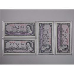 4x Bank of Canada 1954 Ten Dollar Notes (VF) Cased (ATTN: 4 Times the bid price)