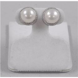 Ladies 925 Silver Freshwater Pearl Earring 9.5mm with 1.10cts Swarovski Elements