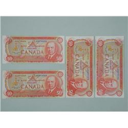 4x Bank of Canada 1975 Fifty Dollar Notes with RCMP (ATTN: 4 Times the bid price)