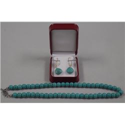 """Ladies Turquoise Bead 16"""" Necklace and Drop Earring"""