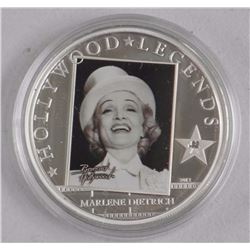 'Hollywood' Legends 'Marlene Dietrich' 925 Sterling Silver Coin with C.O.A. LE/2500 (AR)