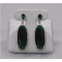 Ladies 925 Silver Custom Earring, Emerald Green Oval Swarovski Elements with Micro Pave Set Swarovsk