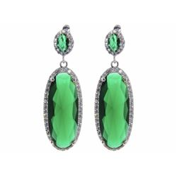 'Elements' Custom Earring and Ring Set - Oval Cut Emerald Green Swarovski Elements App 18ct and Surr