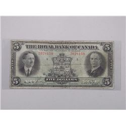 The Royal Bank of Canada - Large Format Five Dollar Note. Jan 1927