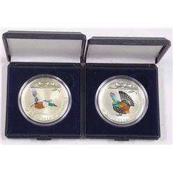 (2) 925 Silver Coins - Mallard and Rooster. (2 Times the Bid Price).