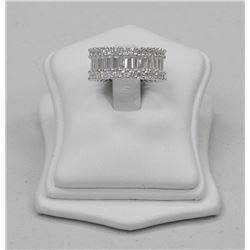Ladies 925 Silver Full Eternity Band with 9.80ct Swarovski Elements, Baguettes and Round Brilliant.