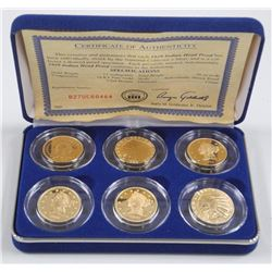 National Mint - 1929 Indian Head Penny Proof 6 Coin Set. 24kt Pure Gold Clad Bronze