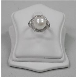 Ladies 925 Silver Pearl Ring with 72 CZ = (9.72ct) Size 6. SRRV: $750.00