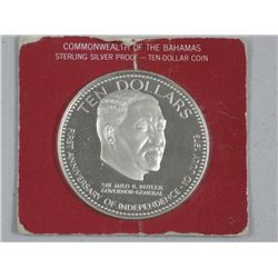 Bahamas Sterling Silver Proof (ER) 1974 $10.00 Coin