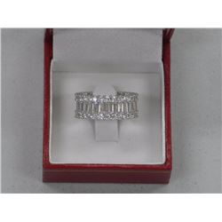 Ladies 925 Silver Ring, Eternity Band with 56 Swarovski Elements = 5.00cts and 28 Baguettes = 4.80ct