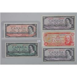 Lot (5) Bank of Canada 1954, 1975 Notes. One Dollar, Two Dollar, (2) Ten Dollar and (1) Fifty Dollar