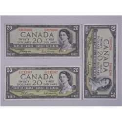 3x Bank of Canada Twenty Dollar Notes - 1954 (2) Modified Portrait and (1) Devil's Face. (ATTN: 3 Ti