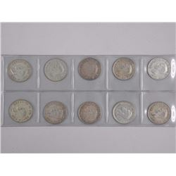 10x Canada Silver 50 cent Coins - Mix of Dates (ATTN: 10 Times the bid price)
