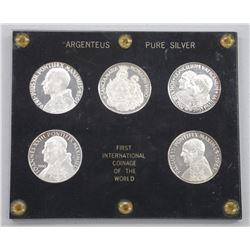 5pc set - First International Coinage of the World 999 Pure Silver, in Acrylic