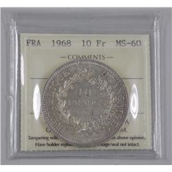 France 1968 10 Francs Silver Coin (MS60) ICCS