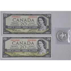 Lot - (2) Bank of Canada 1954 Twenty Dollar Note Modified Portrait and Devil's Face, and 1973 RCMP S