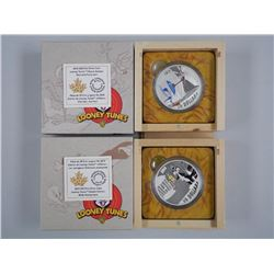 2x RCM/Warner Bros - Looney Tunes issues .9999 Fine Silver $30.00 Coins with Collector Box. LE/C.O.A