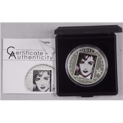 'Hollywood' Legends 'Elizabeth Taylor' 925 Sterling Silver Coin with C.O.A. LE/2500 (AR)