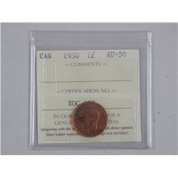Canada 1 Cent 1950 'King George' MS62 - Red and Brown 'ICCS'