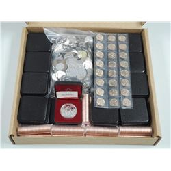 Dealer/Estate Box with 18 Canada Proof Silver Dollars. Massive Bag of World Coins, 15 Mint rolls of