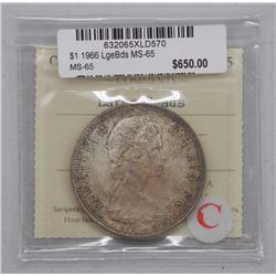 1966 Canada Silver Dollar Coin. Large Beads. MS-65. 'ICCS' Coin Shop $650.00