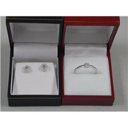 Ladies 925 Silver 'Circle of Life' Earring and Matching Ring. Size 8.5 Swarovski Elements.