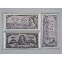 3x Bank of Canada 1937, 1954 Ten Dollar Notes. Modified Portrait and Devil Face. Cased (ATTN: 3 Time