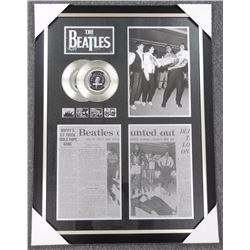 Beatles - Vintage Media Articles with 2 Platinum Records. gallery Frame. 29x38""