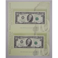 2x USA GEM UNC Series - 1995 Ten Dollar Notes, Issue Oct 25, 1995. Match Serial Numbers. Note 1 and