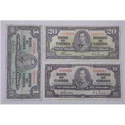 Lot (3) Bank of Canada 1937 - Notes One Dollar, Ten Dollar and Twenty Dollar