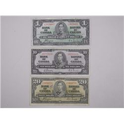 Lot - (3) 1937 Bank of Canada Notes - One, Ten and Twenty