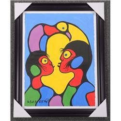Norval Morrisseau (1932-2007) Untitled (Two Figures & Bird in Harmony) signed in Cree Syllabics Copp