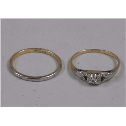 Estate - Wedding and Engagement Ring Set. 10-14-18KT, .10ct Diamond. Vintage Jewellery Appraised: $3