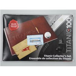 'Titanic Collector's Set' with authentic Stock Certificate, Silver Coin, Stamp Pane, Leather Album.