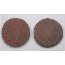 2x Russian 5 Kopeks Coins (1765 and 1767) 'Catherine the Great' (ATTN: 2 Times the bid price)