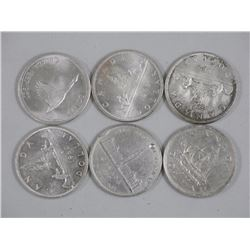 6x Canada Silver Dollar Coins - 1939, 1949, 1965, 1967, 1962, 1963 (ATTN: 6 Times the bid price)