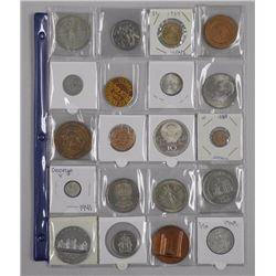 20x Estate Numismatics - Coins, Tokens, Medals. Includes: Russian Silver 10 Roubles, Canada, USA, Is