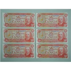 6x Bank of Canada 1975 Fifty Dollar Notes. RCMP Formation (ATTN: 6 Times the bid price)
