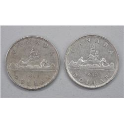 2x Canada Silver Dollar Coins: 1951 and 1952 (ATTN: 2 Times the bid price)