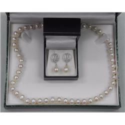 "Ladies 925 Silver Earrings with 17"" Strand Pearls and Swarovski Elements. SRRV: $710.00"