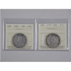 2x Canada Silver 50 cent 'ICCS' (1918 and 1919) G6 (ATTN: 2 Times the bid price)