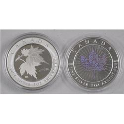 2x .9999 Fine Silver Maple Leaf Hologram Coins. LE with C.O.A. (ATTN: 2 Times the bid price)